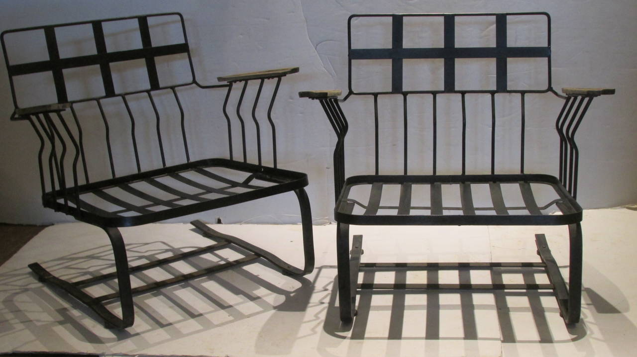 Russell Woodard Modernist Cantilever Wrought Iron And Wood Armchairs At 1stdibs