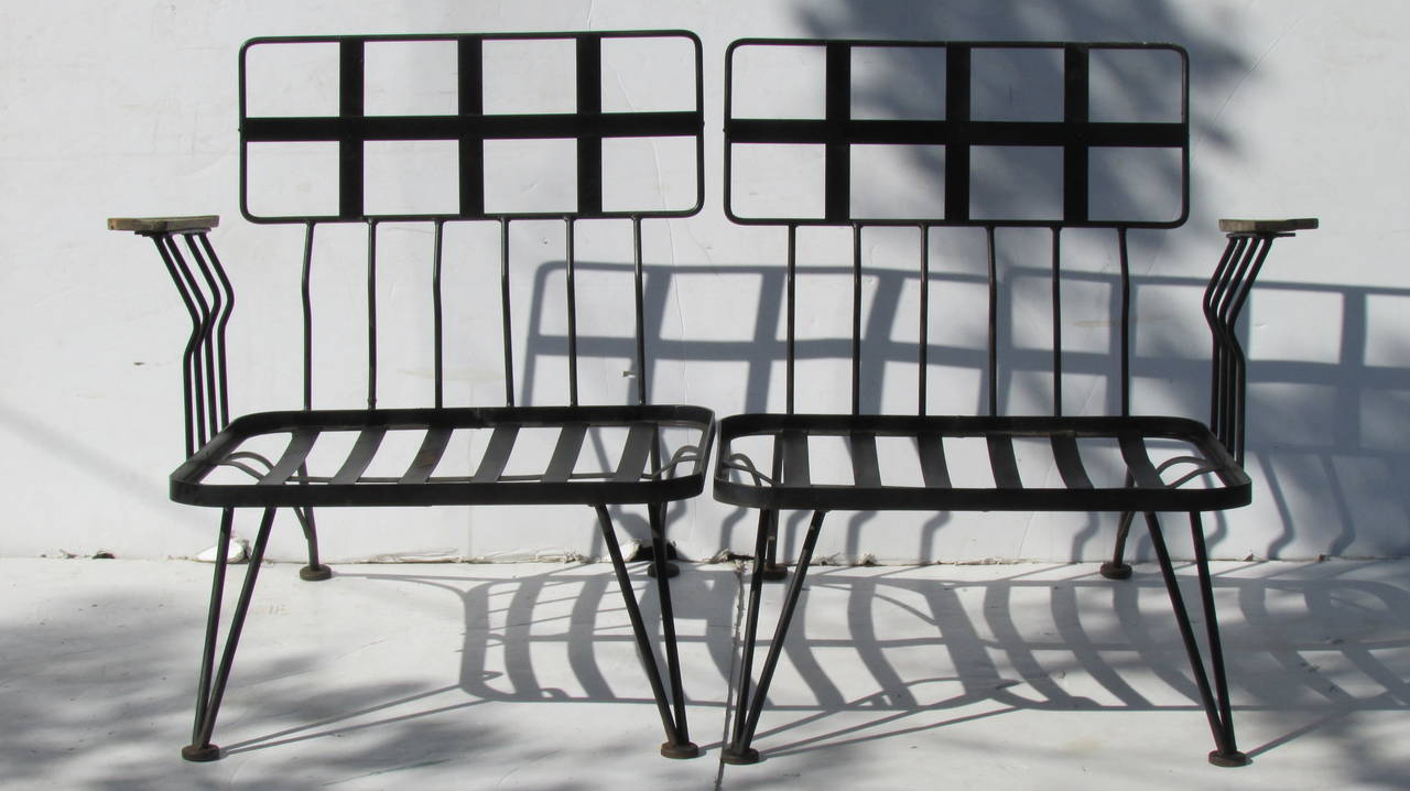 Russell Woodard Modernist Wrought Iron And Wood Sectional At 1stdibs