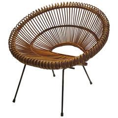 Italian 1950s Rattan Hoop Chair Attributed to Franco Albini