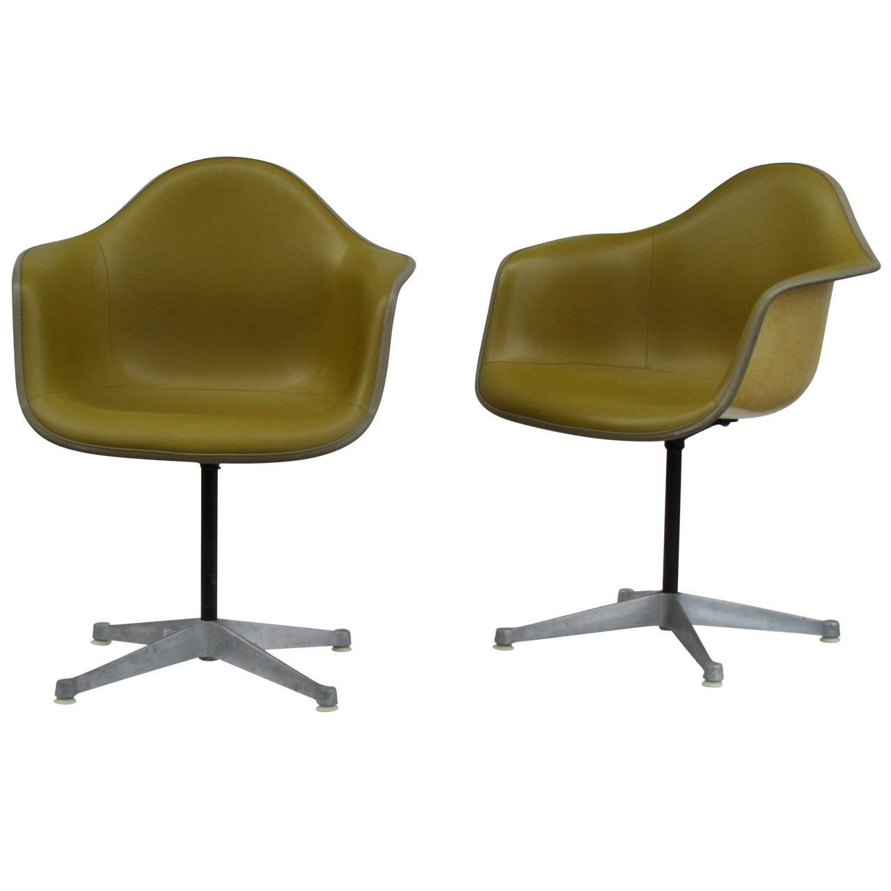 Eames Bucket Swivel Chairs In Alexander Girard Olive