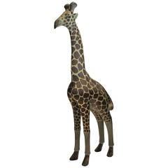 Large Wood Carved Giraffe