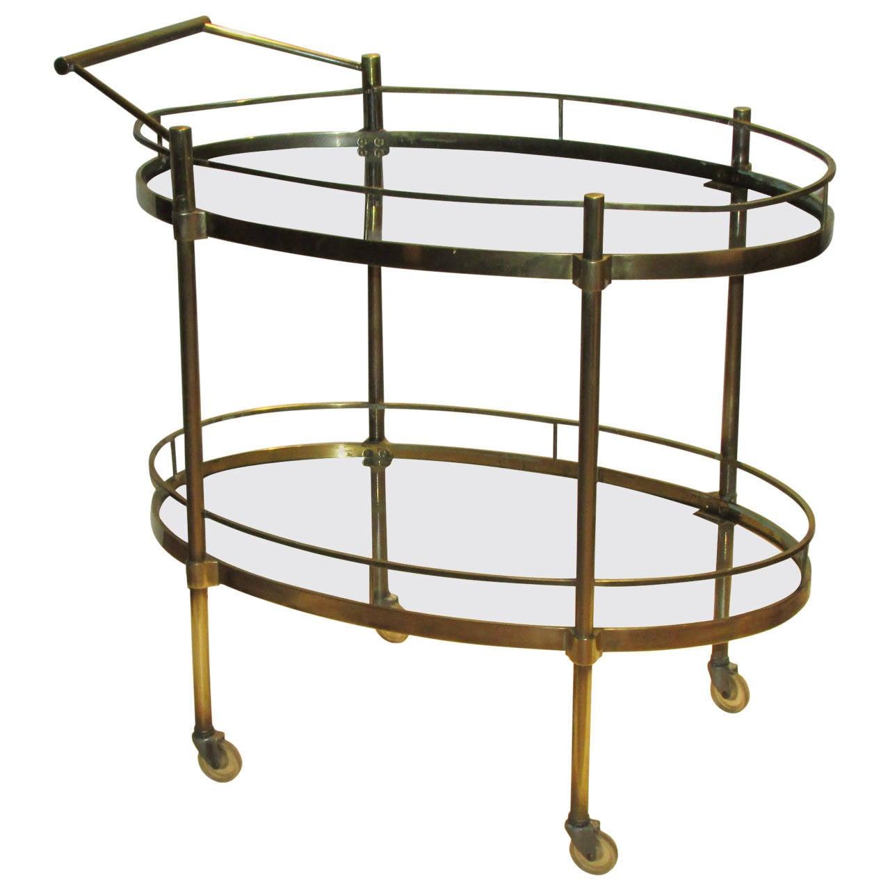 1960s italian brass bar cart at 1stdibs. Black Bedroom Furniture Sets. Home Design Ideas