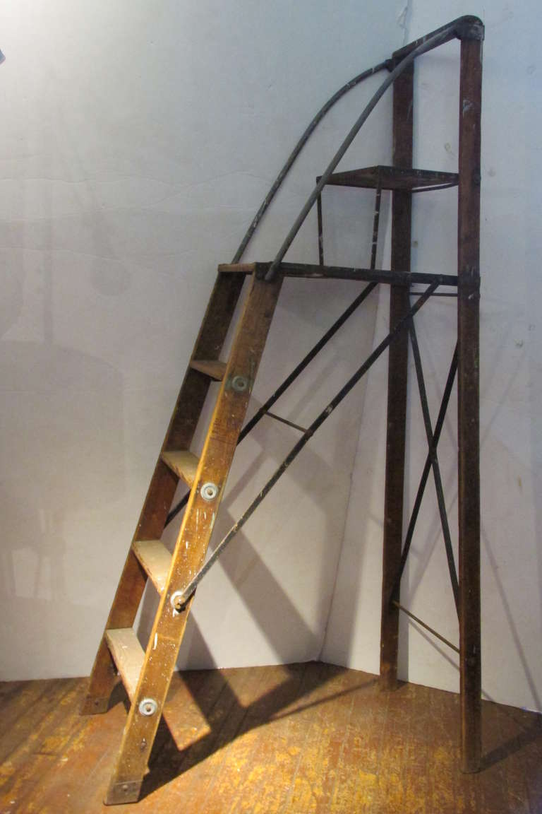 Wood And Steel American Industrial Library Ladder At 1stdibs