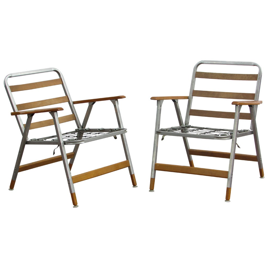 Mid 20th Century Classic Aluminum And Wood Folding Chairs