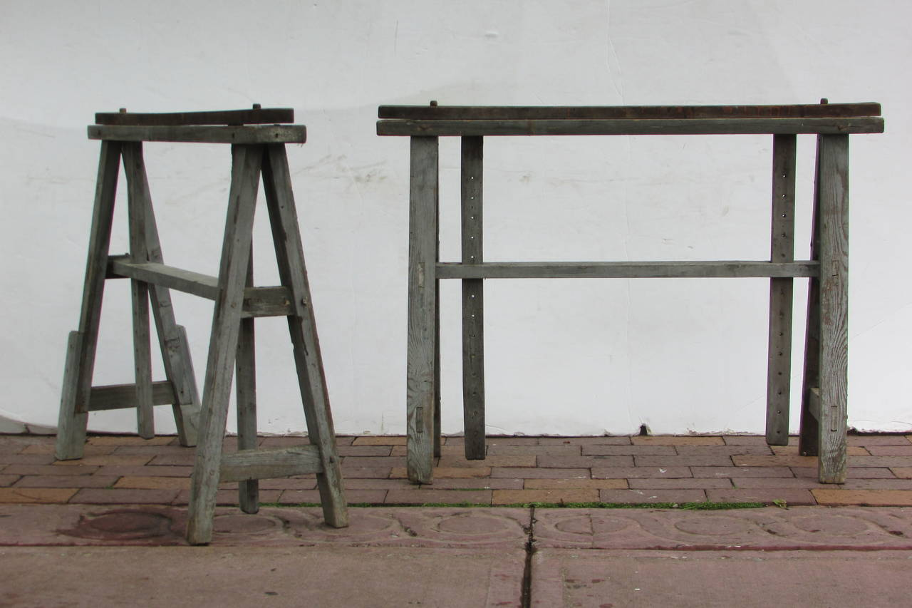 Ordinaire A Pair Of Rare Antique Metamorphic Wood Sawhorses In Original Beautifully  Aged Worn Driftwood Gray Painted