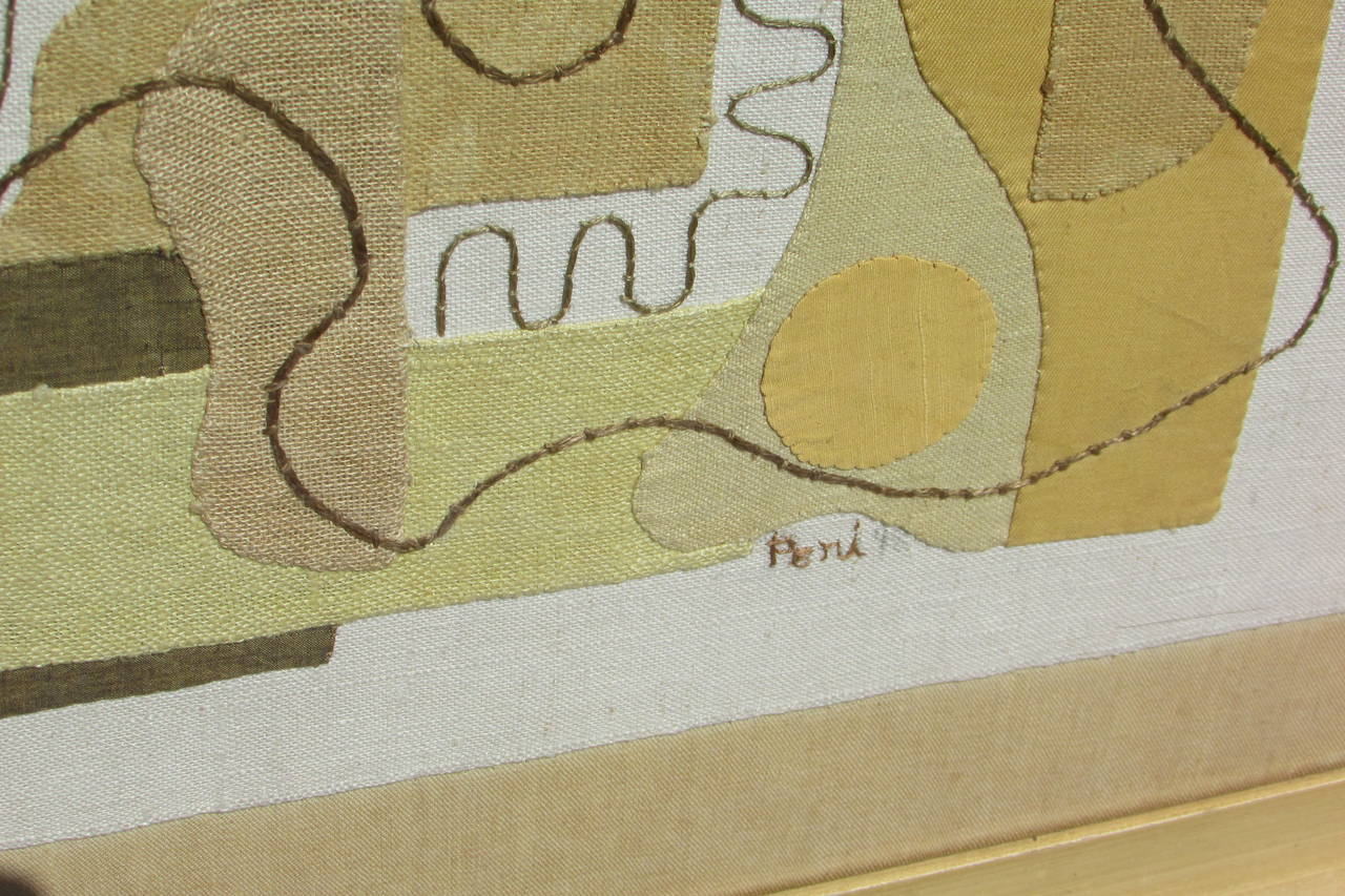 Abstract Modernist Textile Applique Collage By Eve Peri