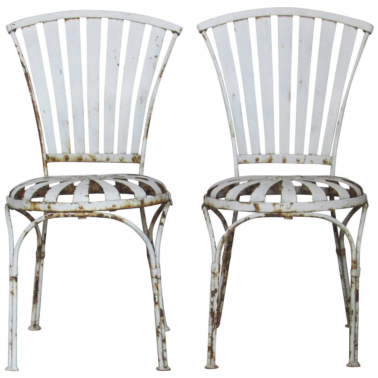 Garden Furniture Steel sprung steel garden chairsfrancois carre at 1stdibs