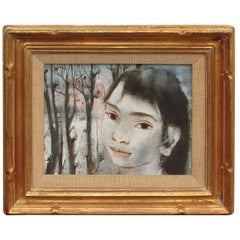 Portrait of a Young Girl in Landscape by Pierre Lavaranne