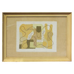 Abstract Modernist Textile Applique Collage by Eve Peri 1948