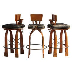 Vintage Moroccan Bar Height Camel Stools