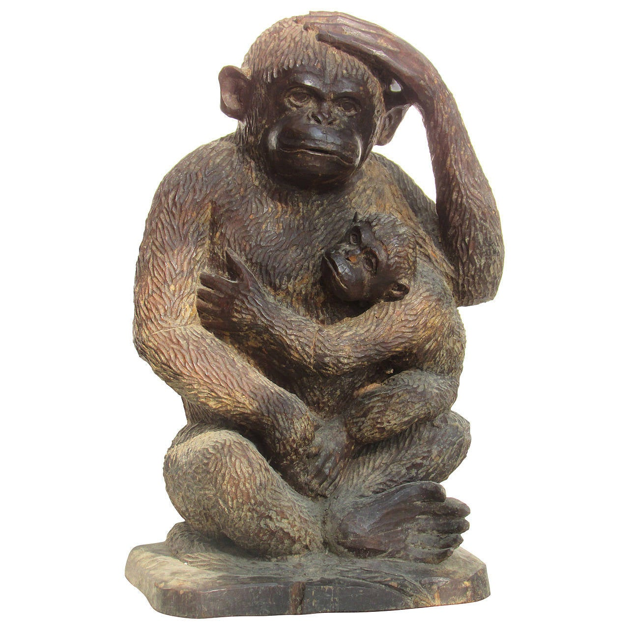 Large carved wooden monkey with young at stdibs