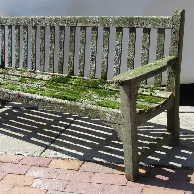 American Teak Garden Bench With Moss & Lichen For Sale