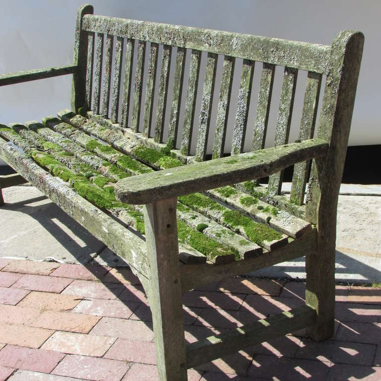 Rustic Teak Garden Bench With Moss & Lichen For Sale