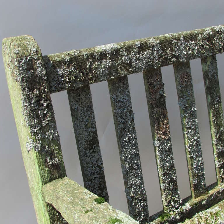 20th Century Teak Garden Bench With Moss & Lichen For Sale