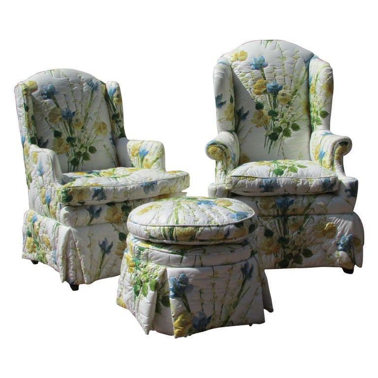 Floral Chintz Wing Chairs And Ottoman At 1stdibs