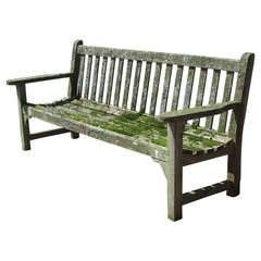 Teak Garden Bench With Moss & Lichen