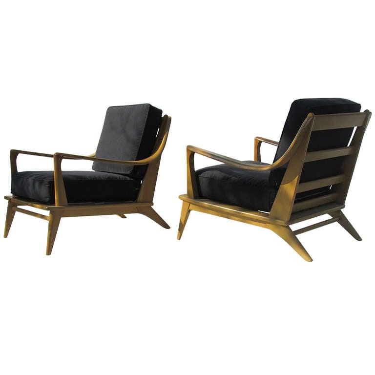 Heywood Wakefield Streamlined Lounge Chairs 1 - Heywood Wakefield Streamlined Lounge Chairs At 1stdibs