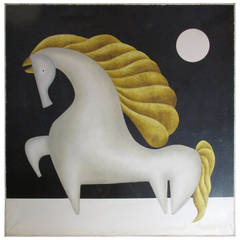 Mexican Modernist Painting of a Horse