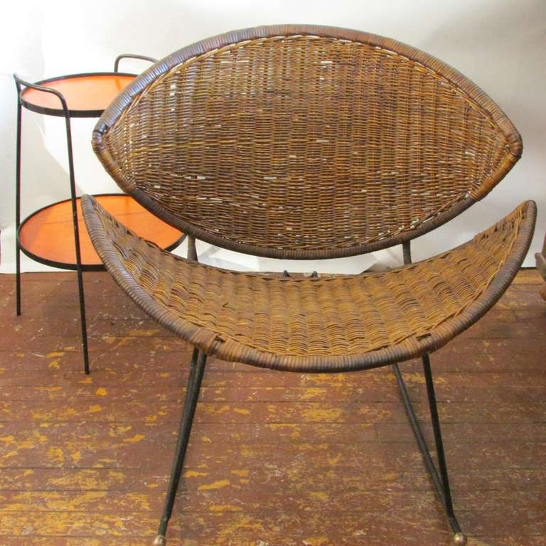 Modernist Wicker And Iron Rocking Chair At 1stdibs