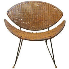 Modernist Wicker & Iron Rocking Chair