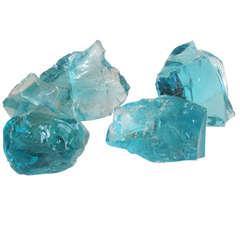Four Large Aqua Chunk Glass Cullet