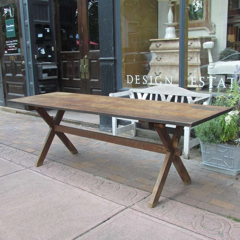 Antique American Pine Sawbuck Table And Benches At 1stdibs