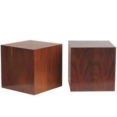Pair of Modernist Wood Cube Tables
