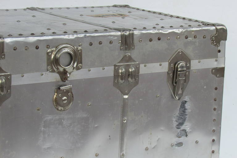 Industrial Riveted Aluminum Steamer Trunk 2