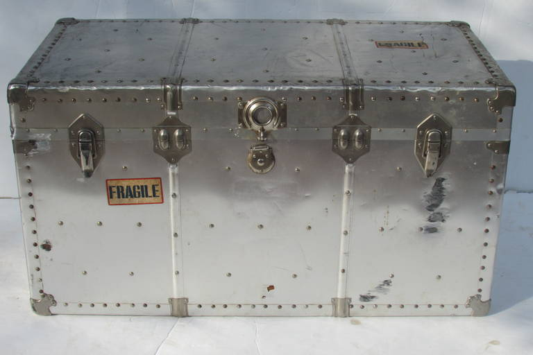 Industrial Riveted Aluminum Steamer Trunk 3