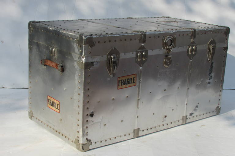 Industrial Riveted Aluminum Steamer Trunk 5