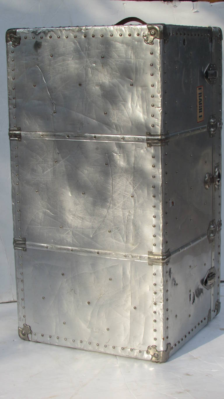 Industrial Riveted Aluminum Steamer Trunk 6
