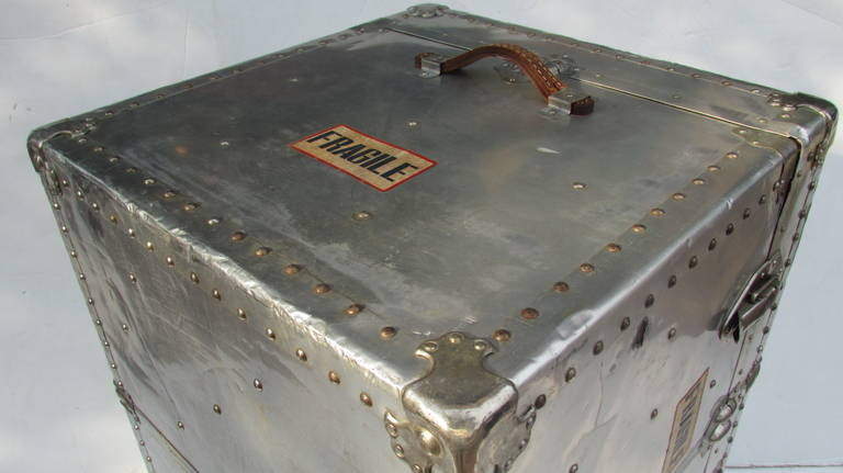Industrial Riveted Aluminum Steamer Trunk 7