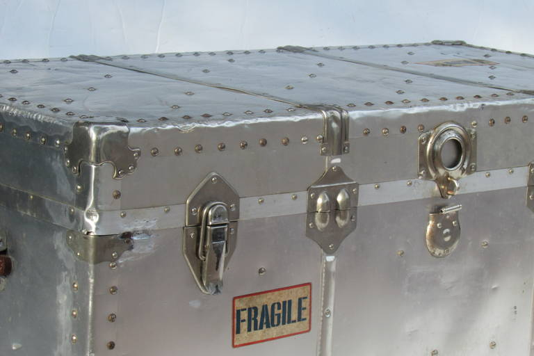 Industrial Riveted Aluminum Steamer Trunk 9