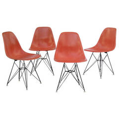 Eames Red Orange Eiffel Tower Chairs for Herman Miller