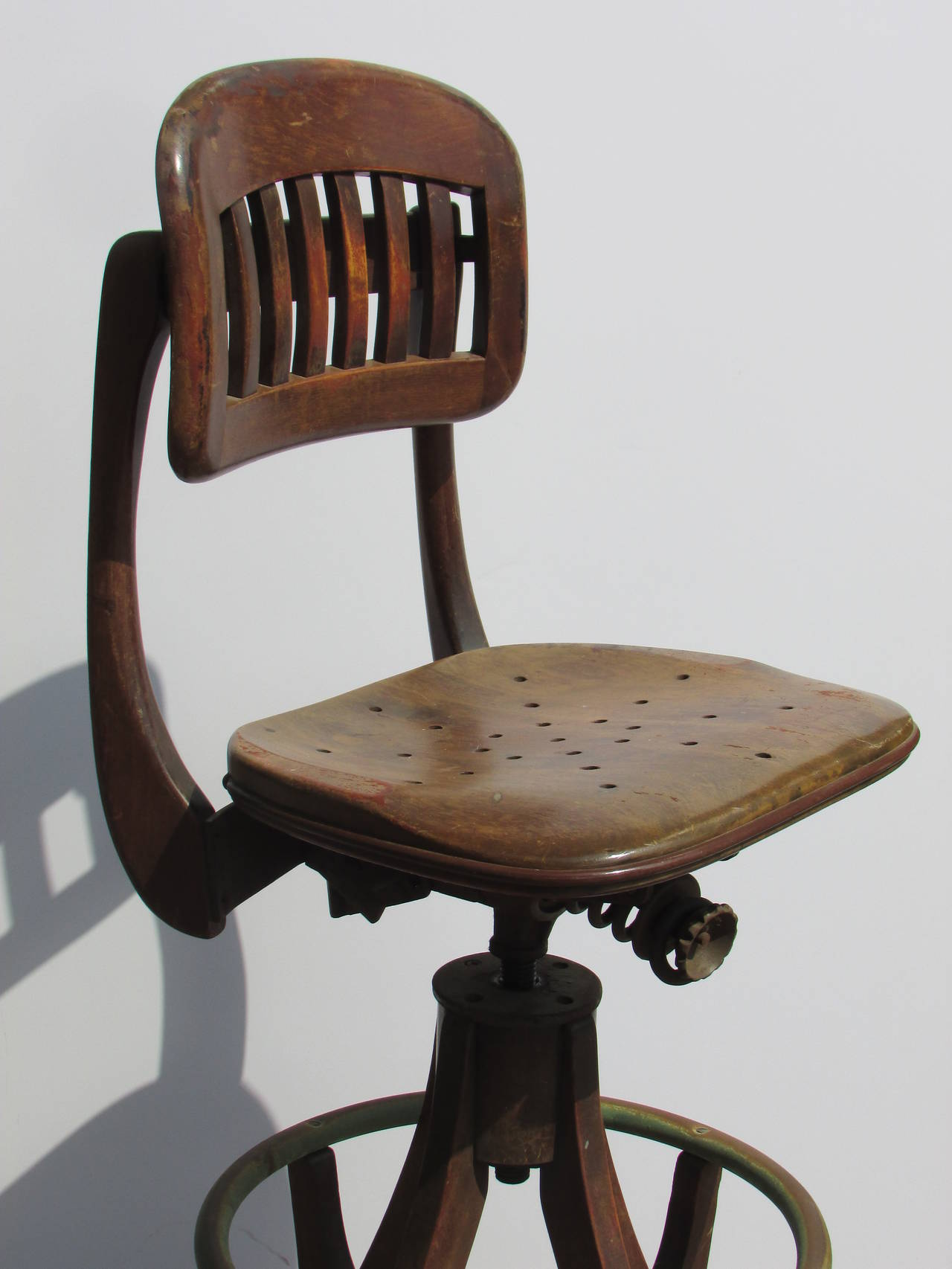 Antique American Industrial Drafting Stool At 1stdibs