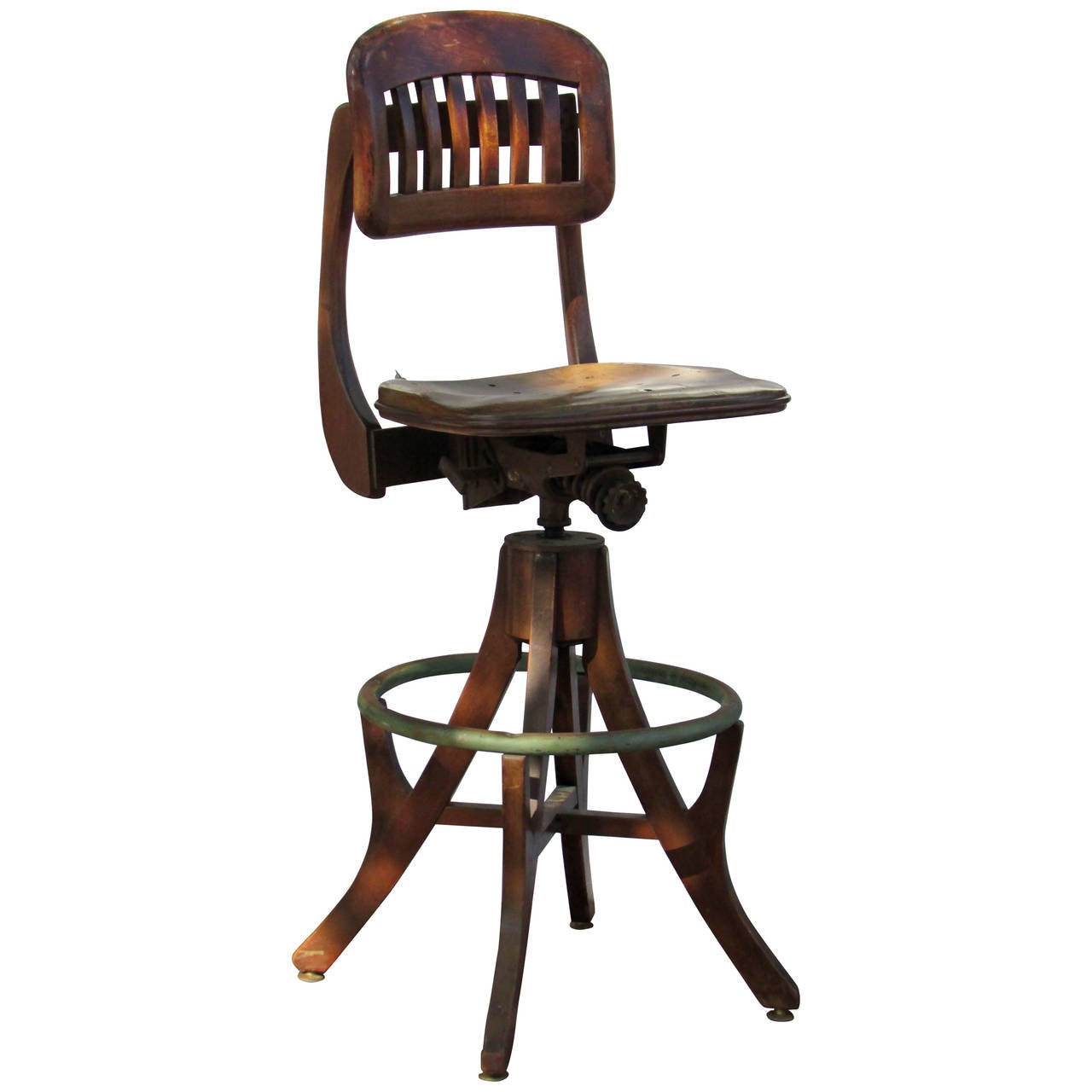 Antique American Industrial Drafting Stool 1 - Antique American Industrial Drafting Stool At 1stdibs