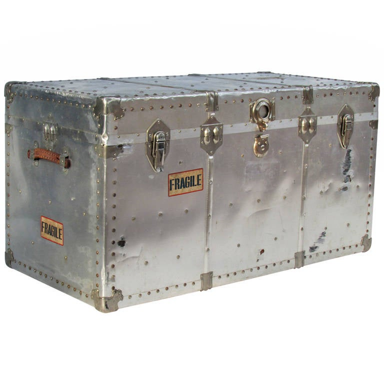 Industrial Riveted Aluminum Steamer Trunk 1