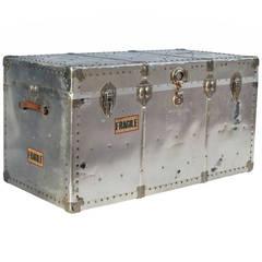 Industrial Riveted Aluminum Steamer Trunk