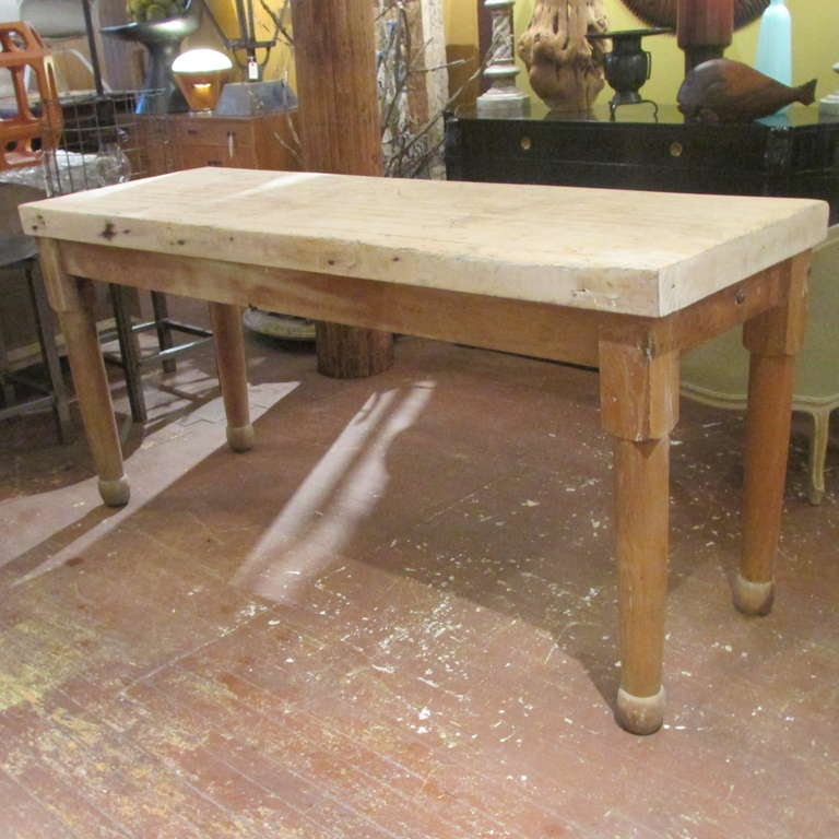 Antique American Butcher Block Work Table 2
