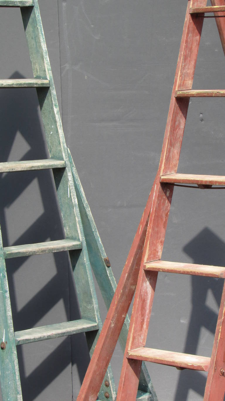 Antique American Three Legged Painted Orchard Ladders