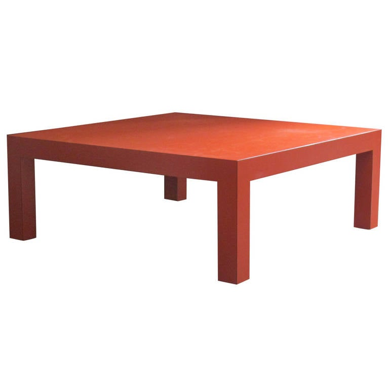 Persimmon Orange Laminated Parsons Coffee Table At 1stdibs