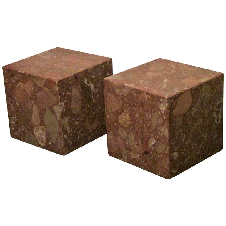 Italian Rouge Marble Cube Pedestal Tables at 1stdibs