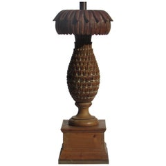 Oversize Carved Wood Pineapple Lamp by Marbro