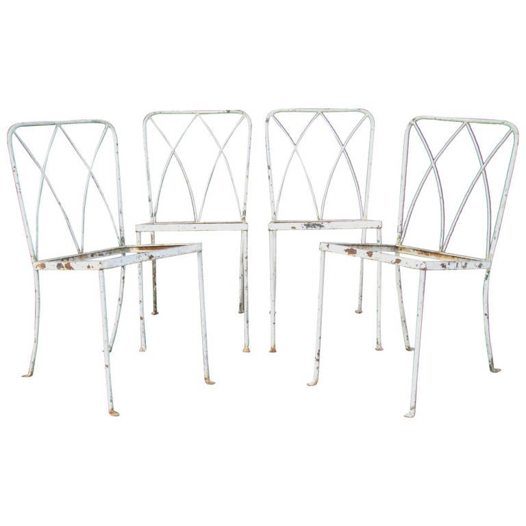 Rare 1940's Regency Wrought Iron Chairs by Salterini