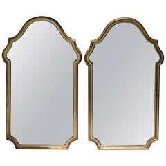 Pair of Labarge Gilded Silver Leaf Arch Top Mirrors