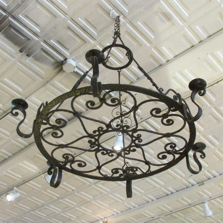 20th Century French Forged Iron Chandelier For Sale