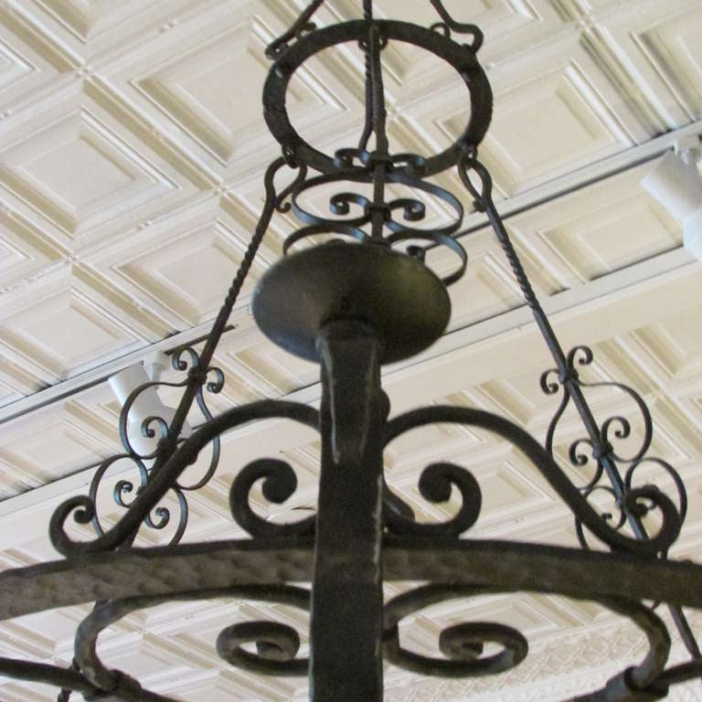 French Forged Iron Chandelier For Sale 2