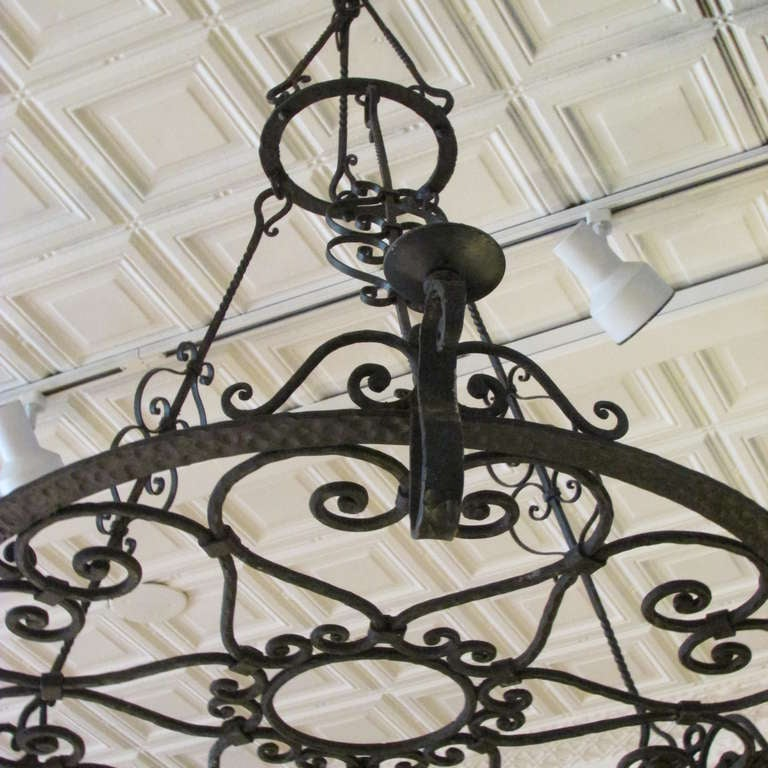French Forged Iron Chandelier For Sale 3