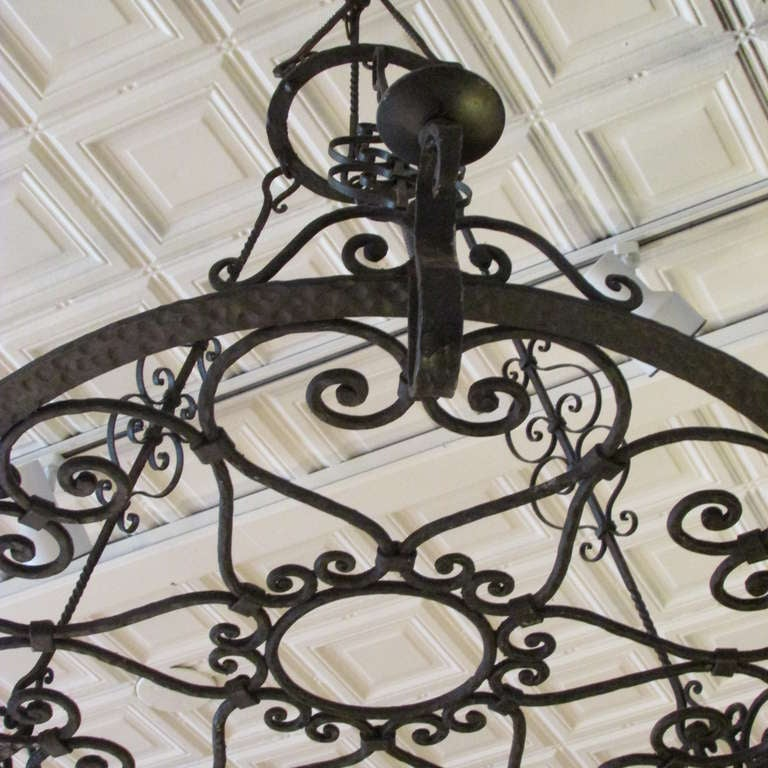 French Forged Iron Chandelier For Sale 1