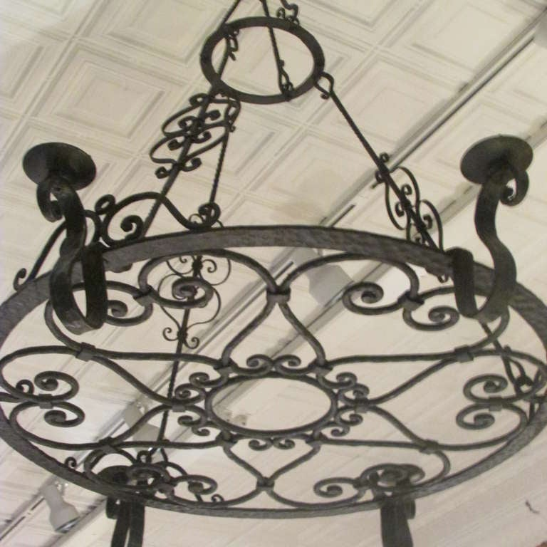 French Forged Iron Chandelier For Sale 5